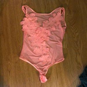 Tops - Mesh pink floral bodysuit hot